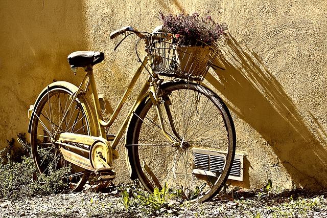 Imagen de una bicicleta vintage apoyada en una pared
