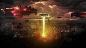 imagen de naves espaciales sobre una ciudad