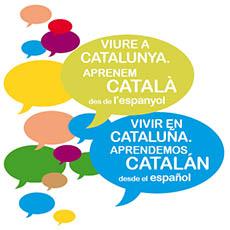 imagen de dos bocadillos de texto en el que dice que vivir en catalunya aprendemos catalán desde el español