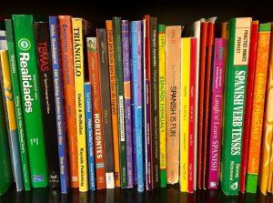 estantería llena de libros de distintos colores