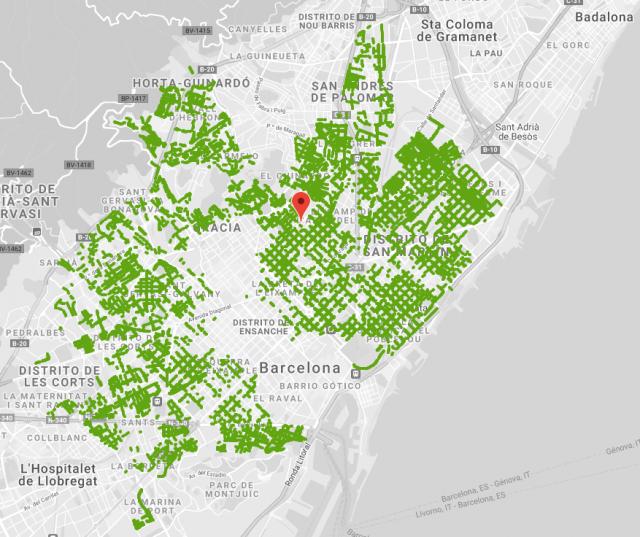 mapa de zona verde de barcelona
