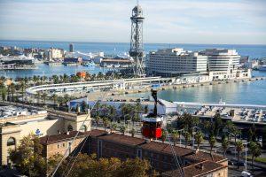 Vistas del teleférico en el Puerto de Barcelona