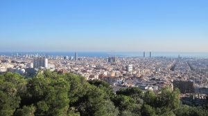 Plano largo del Poblenou en Barcelona.