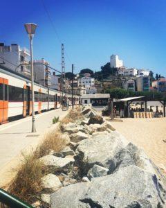 Estación de tren en Sant Pol de Mar.