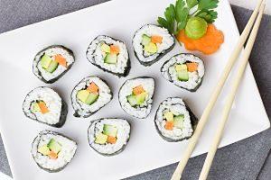 Imagen de un plato con sushi