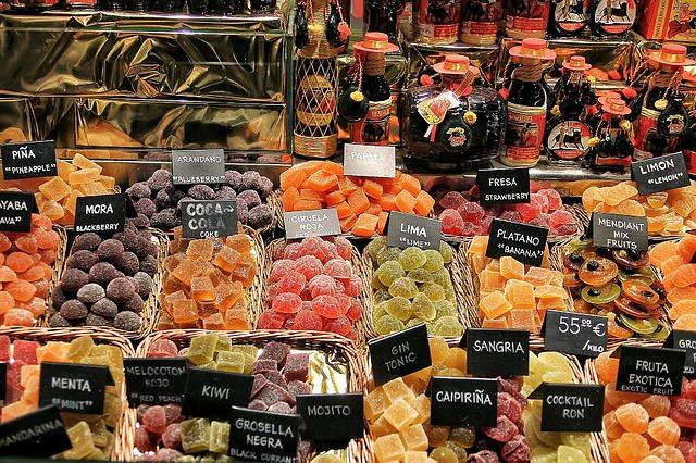 Frutas dulces del mercado de la Boquería