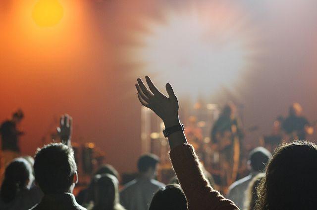 Imagen de un concierto con gente con los brazos en alto
