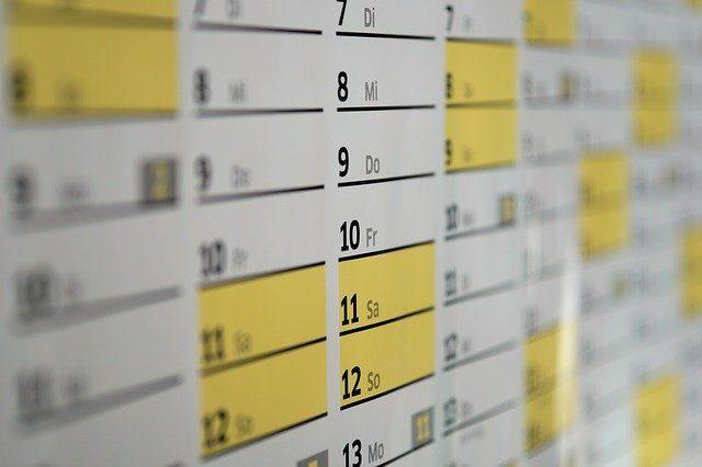 primer plano de un calendario