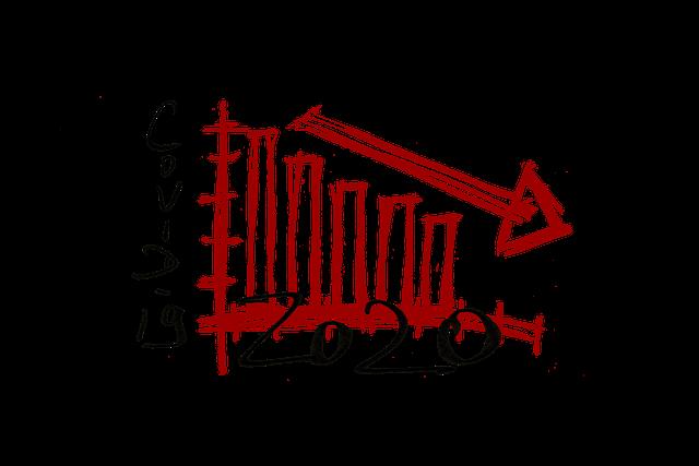 Ilustración gráfico de barras rojo Covid 2020